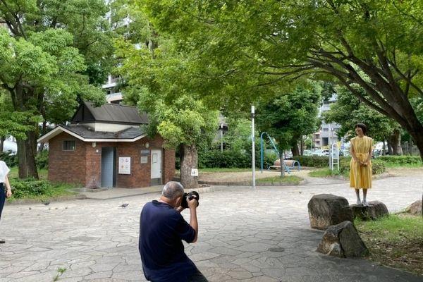 公園での撮影風景